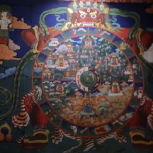 painting in a dzong showing heaven and hell
