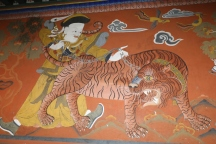 Buddhism came to Bhutan from Nepal--legend states on the back of a tigress. Some refer to a real woman who brought the holy man