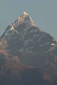 Machapuchare is a sacred ( to the god Shiva)and unclimbed mountain