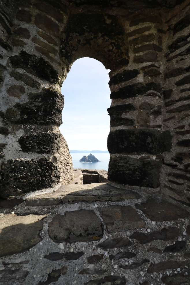 view of Little Skellig bird sanctuary from the medieval church--the only motared building